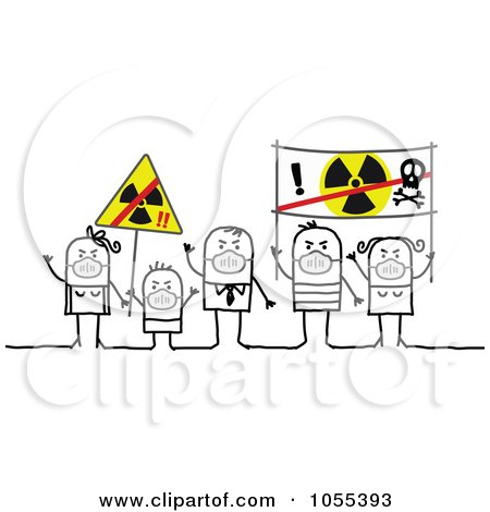 Royalty-Free Vector Clip Art Illustration of Protesting Stick People Wearing Masks And Holding Anti Radiation Signs by NL shop