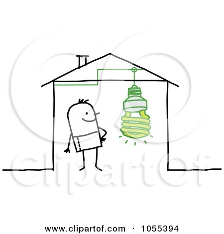 Royalty-Free Vector Clip Art Illustration of a Stick Man In A House With An Eco Friendly Light Bulb by NL shop