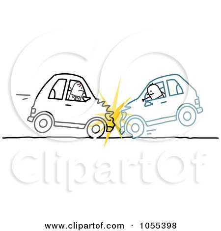 Royalty-Free Vector Clip Art Illustration of Two Stick Men In A Head On Car Accident by NL shop