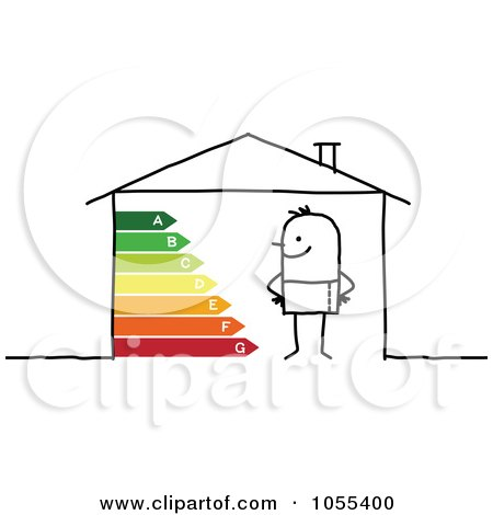 Royalty-Free Vector Clip Art Illustration of a Stick Man In A House With Energy Ratings by NL shop