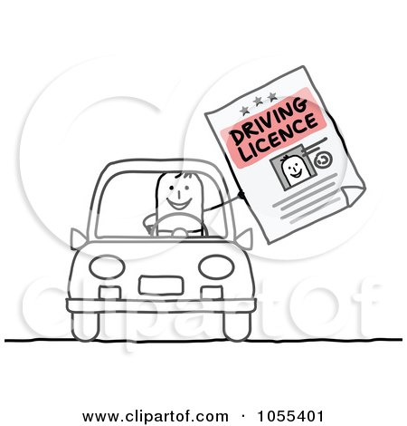 Royalty-Free Vector Clip Art Illustration of a Stick Man Holding His Driving License And Sitting In A Car by NL shop