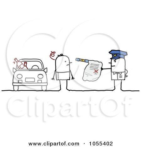 Royalty-Free Vector Clip Art Illustration of a Police Officer Issuing The Arrest Of A Drunk Driver by NL shop