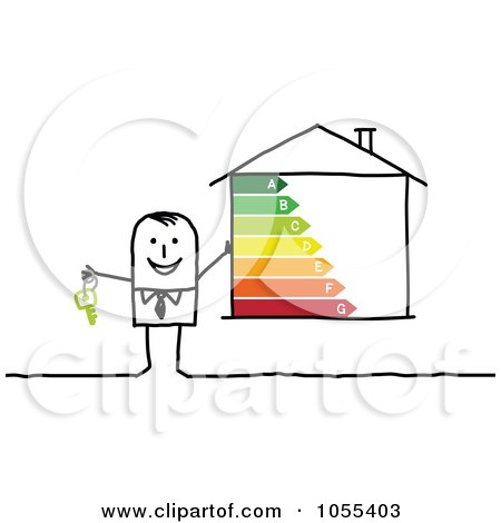 Royalty-Free Vector Clip Art Illustration of a Stick Man Holding Keys And A House With Energy Ratings by NL shop