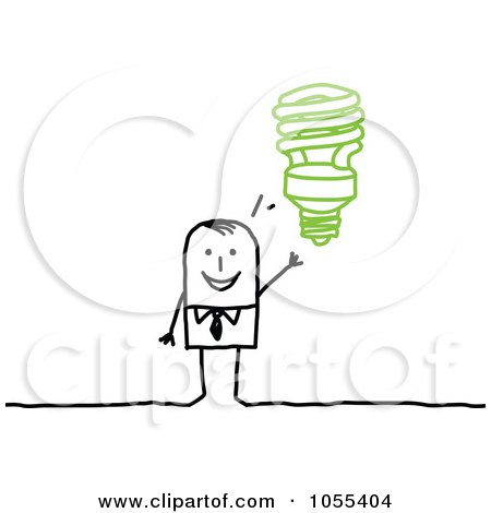 Royalty-Free Vector Clip Art Illustration of a Stick Man With A Spiral Light Bulb Idea by NL shop