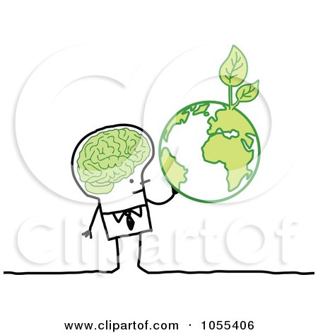 Royalty-Free Vector Clip Art Illustration of a Stick Man With A Green Brain And Globe by NL shop