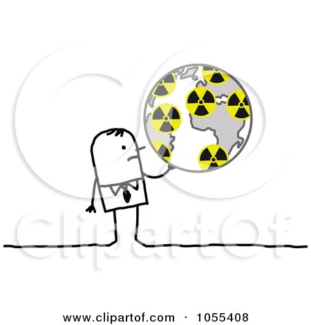 Royalty-Free Vector Clip Art Illustration of a Stick Man Holding A Globe With Radiation Symbols by NL shop