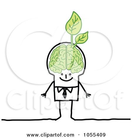 Royalty-Free Vector Clip Art Illustration of a Stick Man With An Ecology Brain by NL shop