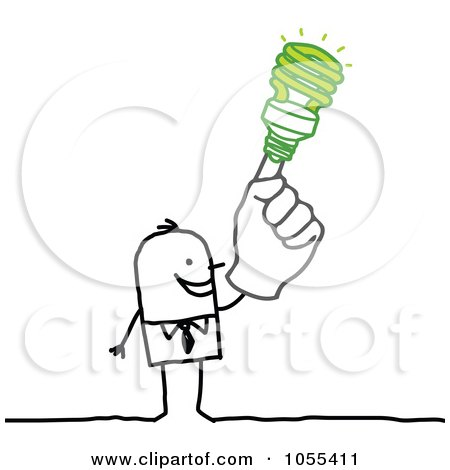 Royalty-Free Vector Clip Art Illustration of a Stick Man With A Green Idea by NL shop