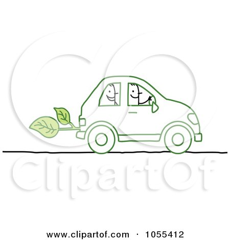 Royalty-Free Vector Clip Art Illustration of Stick People Riding In An Eco Friendly Car by NL shop