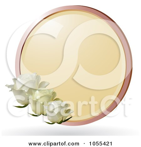 Royalty-Free Vector Clip Art Illustration of Three White Roses With A Round Frame by elaineitalia