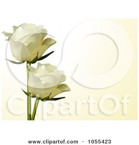 Royalty-Free Vector Clip Art Illustration of Two White Roses On Cream by elaineitalia