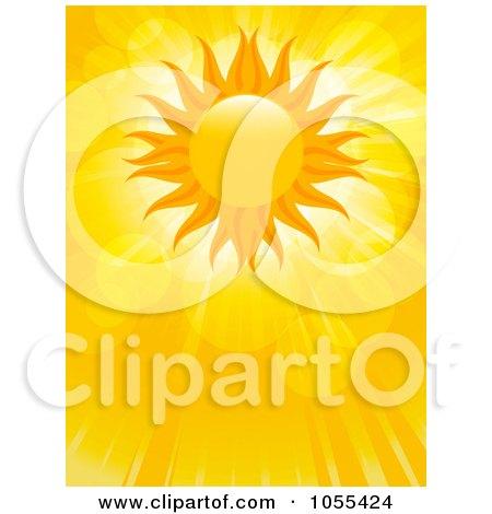 Royalty-Free Vector Clip Art Illustration of a Summer Sun With Lens Flares And Rays by elaineitalia