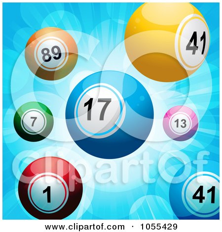 Royalty-Free Vector Clip Art Illustration of Lottery Balls On A Blue Burst by elaineitalia