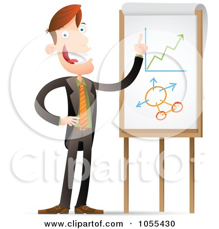 Royalty-Free Vector Clip Art Illustration of a Businessman Explaining Statistic Charts by Qiun