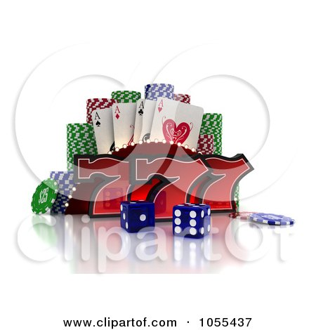 Royalty-Free CGI Clip Art Illustration of 3d Red Lucky Sevens With Blue Casino Dice, Poker Chips And Cards by stockillustrations