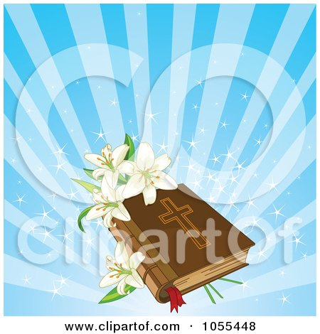 Royalty-Free Vector Clip Art Illustration of a Easter Lilies On A Bible Over Blue Rays by Pushkin