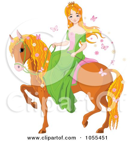 Royalty-Free Vector Clip Art Illustration of a Red Haired Princess On A Horse by Pushkin