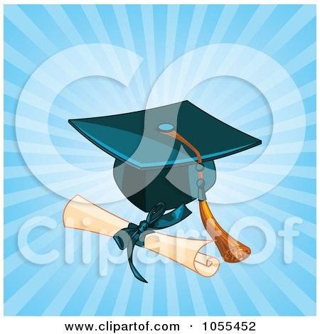 Royalty-Free Vector Clip Art Illustration of a Diploma By A Graduation Cap And Tassel Over Blue Rays by Pushkin