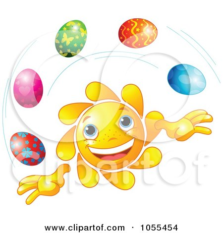 Royalty-Free Vector Clip Art Illustration of a Happy Sun Juggling Easter Eggs by Pushkin