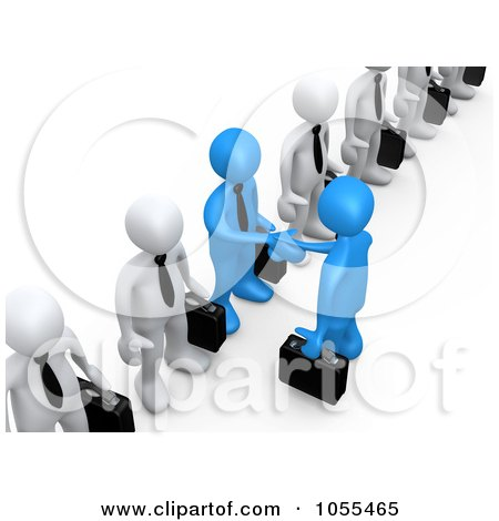 Royalty-Free CGI Clip Art Illustration of 3d Blue Business Men Shaking Hands In A Line Of White Men by 3poD