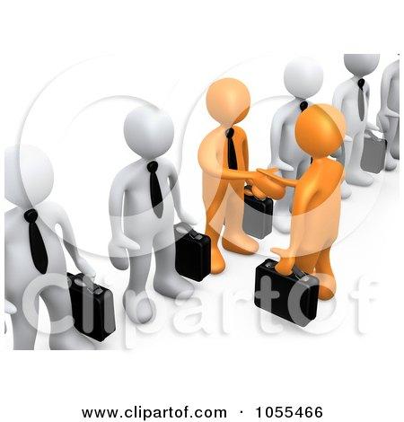 Royalty-Free CGI Clip Art Illustration of 3d Orange Business Men Shaking Hands In A Line Of White Men by 3poD
