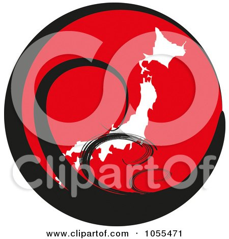 Royalty-Free Clip Art Illustration of Black Tsunami Waves Over Japan On A Red Globe by MacX