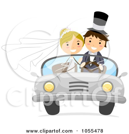 Royalty-Free Vector Clip Art Illustration of a Wedding Couple In A Convertible Car by BNP Design Studio