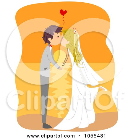 Royalty-Free Vector Clip Art Illustration of a Bride And Groom Kissing At Sunset by BNP Design Studio
