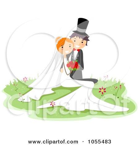 RoyaltyFree Vector Clip Art Illustration of a Wedding Couple Posing In