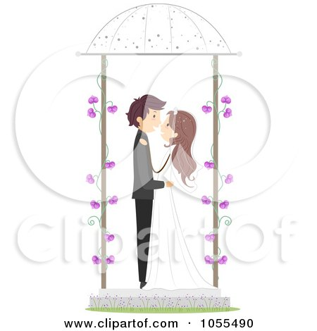Royalty-Free Vector Clip Art Illustration of a Bride And Groom Kissing In A Gazebo by BNP Design Studio