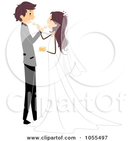 Royalty-Free Vector Clip Art Illustration of a Wedding Couple Feeding Each Other Cake by BNP Design Studio