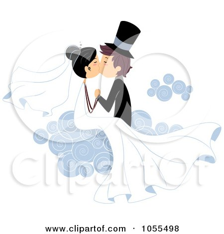Royalty-Free Vector Clip Art Illustration of a Bride And Groom Kissing On A Cloud by BNP Design Studio