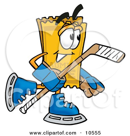 Clipart Picture of a Yellow Admission Ticket Mascot Cartoon Character Playing Ice Hockey by Toons4Biz