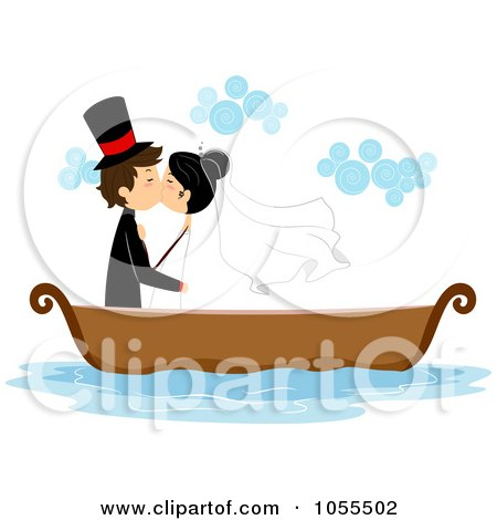 Royalty-Free Vector Clip Art Illustration of a Bride And Groom Kissing In A Boat by BNP Design Studio