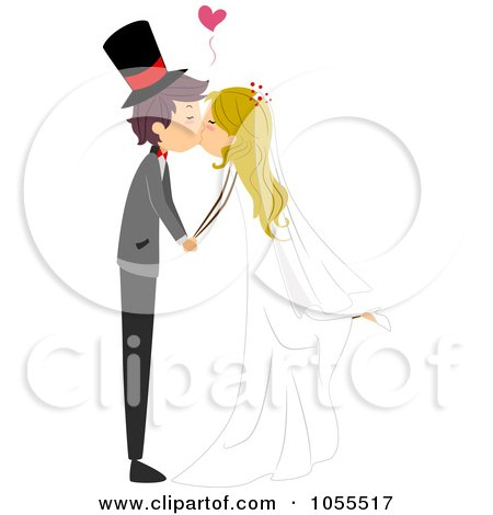 Royalty-Free Vector Clip Art Illustration of a Bride And Groom Kissing With A Heart by BNP Design Studio