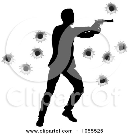 Royalty-Free Vector Clip Art Illustration of a Silhouetted Action Hero Shooting, Over Bullet Holes - 3 by AtStockIllustration