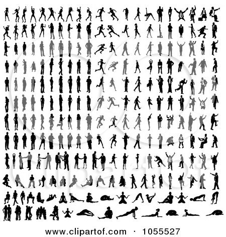 Royalty-Free Vector Clip Art Illustration of a Digital Collage Of Black Silhouetted People by AtStockIllustration