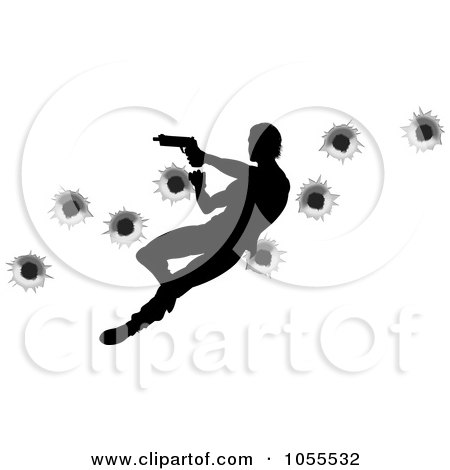Royalty-Free Vector Clip Art Illustration of a Silhouetted Action Hero Shooting, Over Bullet Holes - 2 by AtStockIllustration