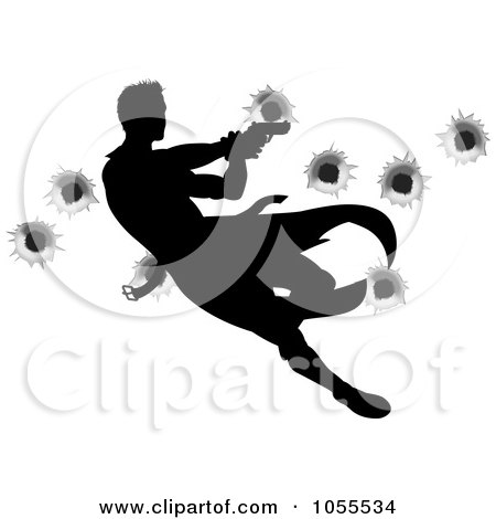 Royalty-Free Vector Clip Art Illustration of a Silhouetted Action Hero Shooting, Over Bullet Holes - 1 by AtStockIllustration