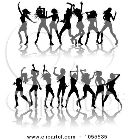 Royalty-Free Vector Clip Art Illustration of a Digital Collage Of Borders Of Black Silhouetted Women Dancing by AtStockIllustration