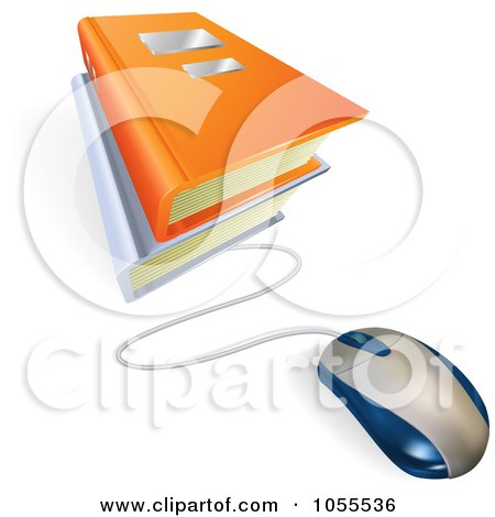 Royalty-Free Vector Clip Art Illustration of a Computer Mouse Connected To E Books by AtStockIllustration