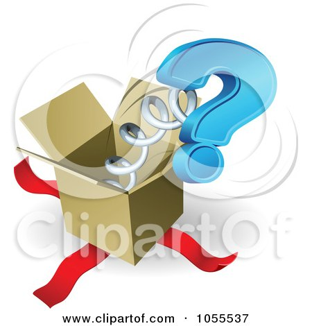 Royalty-Free Vector Clip Art Illustration of a Question Mark Springing Out Of A Box by AtStockIllustration