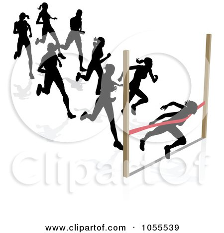 Royalty-Free Vector Clip Art Illustration of Silhouetted Runners, A Woman Breaking Through The Finish Line by AtStockIllustration