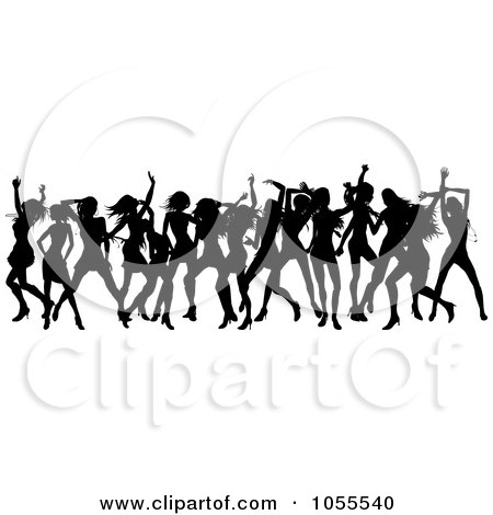 Royalty-Free Vector Clip Art Illustration of a Border Of Black Silhouetted Women Dancing by AtStockIllustration