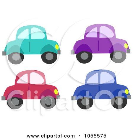 Clipart Illustration Of A Pink Car With Terrible Exhaust