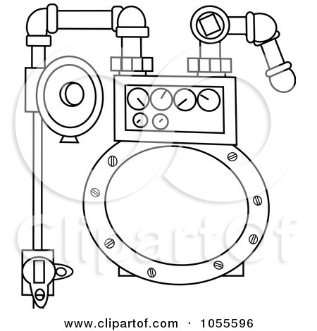 Royalty-Free Vector Clip Art Illustration of a Coloring Page Outline Of A Gas Meter by djart