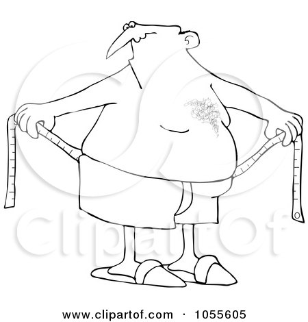Royalty-Free Vector Clip Art Illustration of a Coloring Page Outline Of A Chubby Man Measuring Around His Waist by djart