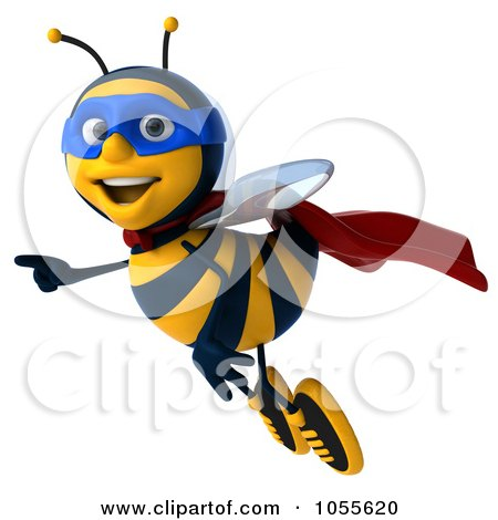 Royalty-Free CGI Clip Art Illustration of a 3d Super Honey Bee Flying And Pointing by Julos
