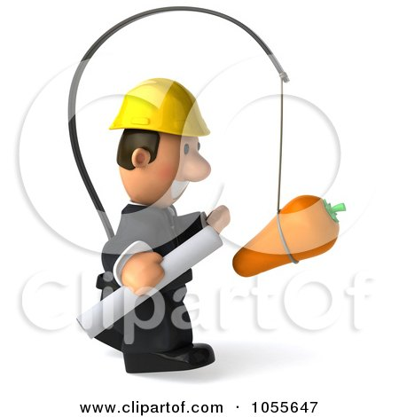 Royalty-Free CGI Clip Art Illustration of a 3d Male Architect Chasing After A Carrot - 2 by Julos
