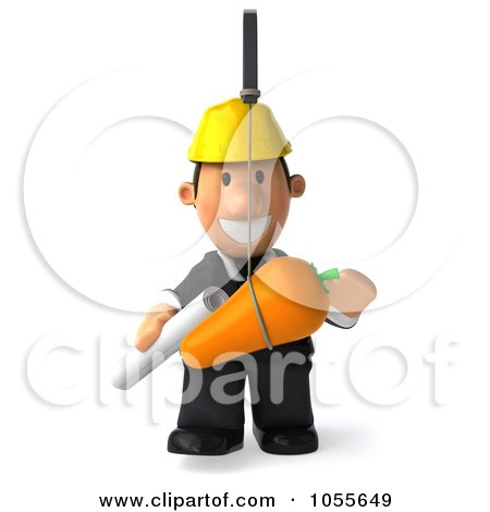 Royalty-Free CGI Clip Art Illustration of a 3d Male Architect Chasing After A Carrot - 1 by Julos